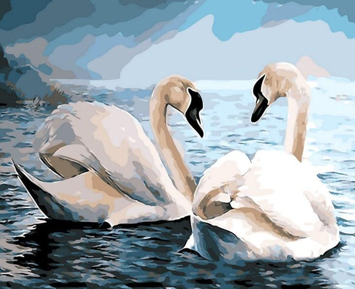 Swans Pair in Water Paint by Diamonds