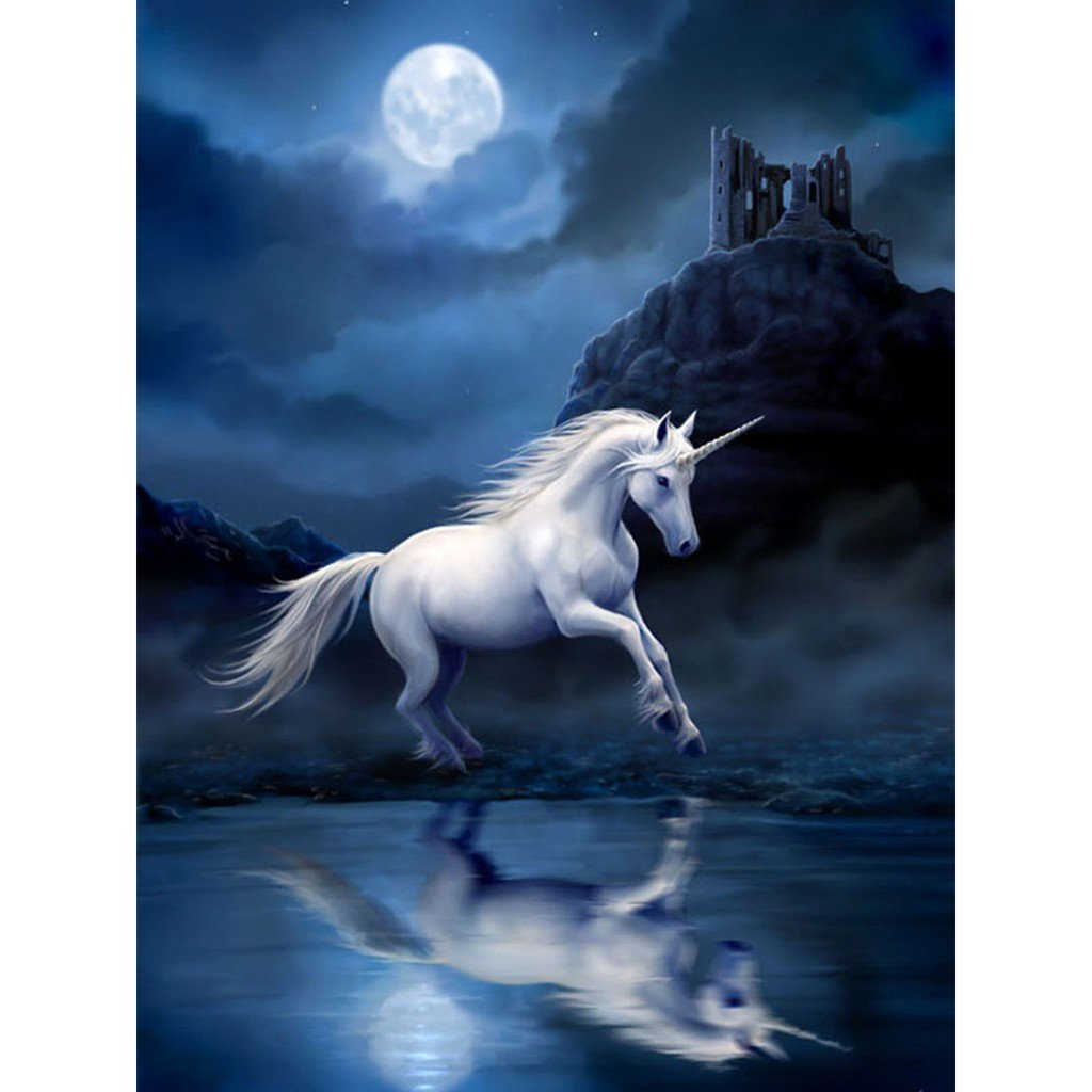 Unicorn & Full Moon Night Diamond Painting