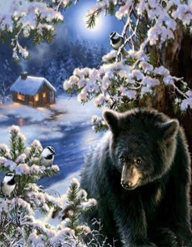 Winter Black Bear Diamond Painting
