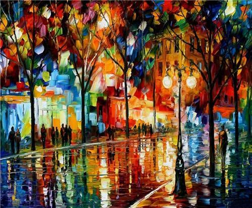 Bunte Straße Aussicht DIY Diamond Painting - Diamond Painting Deutschland