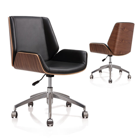 Mid-Back Bentwood Swivel Office Computer Chair PU Leather Office Furniture For Home,Conference Mid Century Adjustable Armchair
