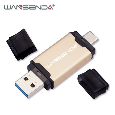 New WANSENDA USB 3.0 TYPE C USB Flash Drive 512GB 256GB 128GB 64GB 32GB 16GB Pen Drive External Storage Pendrive for Android/PC