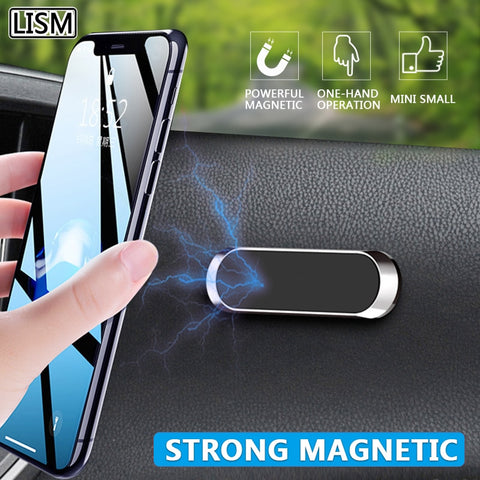 LISM Magnetic Car Phone Holder Dashboard Mini Strip Shape Stand For iPhone Samsung Xiaomi Metal Magnet GPS Car Mount for Wall
