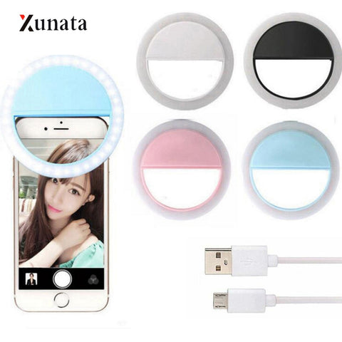 XUNATA USB LED Selfie Ring Light Portable Phone Photography Ring Light Enhancing for Smartphone Selfie Enhancing Fill Lights