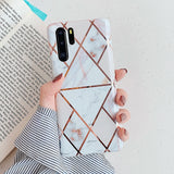 LOVECOM Plating Geometric Marble Phone Case For Huawei P40 Pro P30 P20 Lite Pro Mate 30 20 Lite Glossy Soft IMD Phone Back Cover