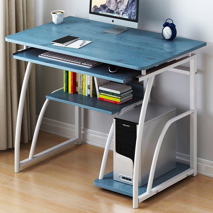 K-STAR Modern Computer Desk Workstation Study Writing Table Home Office Furniture with Keyboard Bracket PC Metal 71cm