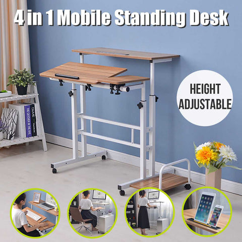 Upgraded Height Adjustable Standing Desk Compuer Laptop Desk 2 Layers 31.5inch Computer Table For Home Office With Host shelf