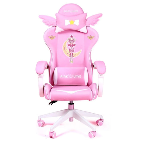 Pink Magic Gaming Chair Girl Game Competitive Rotating Chair Home Liftable Computer Chair Fashion Comfortable Anchor Live Chair
