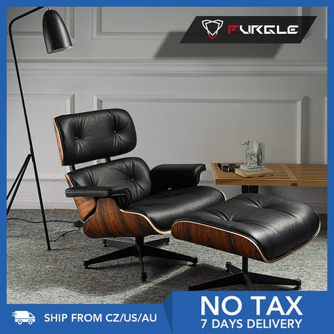 Furgle Modern Classic Replica Lounge Chair with ottoman chaise furniture real leather Swivel Chair Leisure for living room hotel