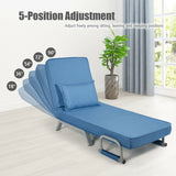 Folding 5 Position Convertible Sleeper Bed Armchair Lounge Couch with