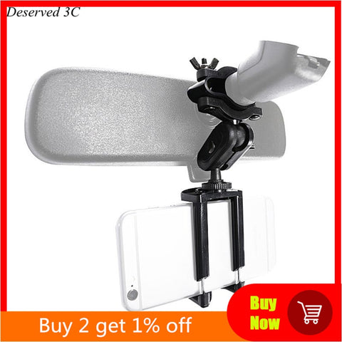 Car Phone Holder Adjustable Rear View Mirror Mount Stand for Mobile Phone GPS