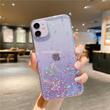 Clear Glitter Phone Case For iPhone 12 Pro 11 Pro Max XS Max XR X 7 8 Plus 12 Mini SE 2020 Cute Gradient Rainbow Sequins Coque