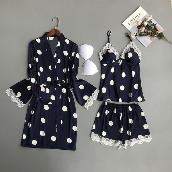 3Pcs Polka Dot Nightwear Set freeshipping - looksCares