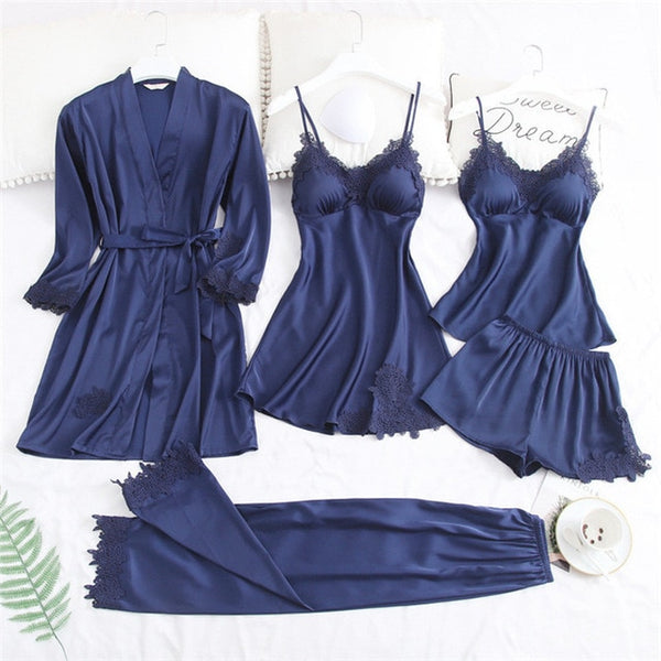 Sexy Lace 5 Piece Pajamas Set freeshipping - looksCares