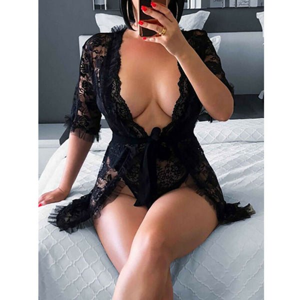 Women's Eyelash Lace Babydoll Lingerie Set freeshipping - looksCares