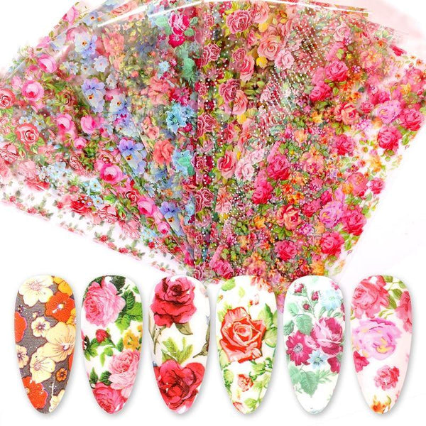 Tropical Leaves Rose Flowers Nail Foils freeshipping - looksCares