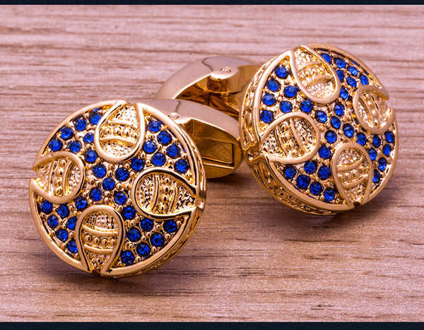 Retro Round Blue Crystal Cufflinks freeshipping - looksCares