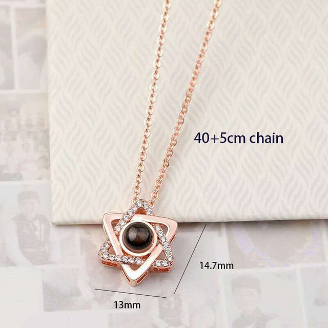 Necklace Heart Pendant Projection 100 Languages freeshipping - looksCares
