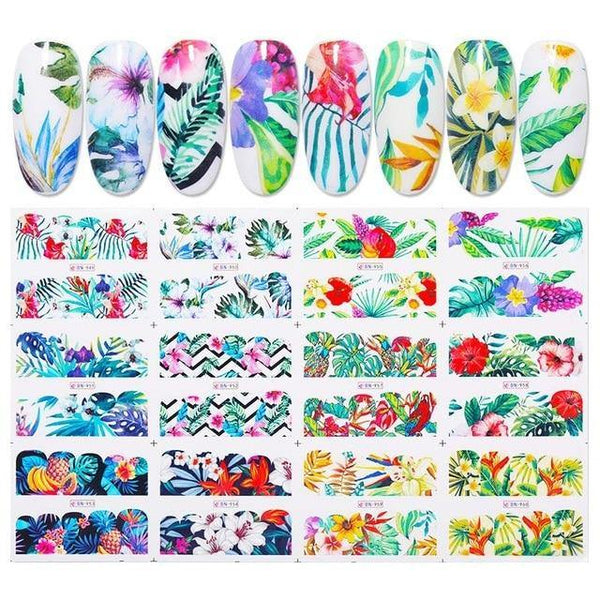 Mixed Flower Leaves Nail Art freeshipping - looksCares