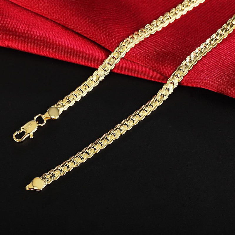 18k Gold 6mm Full Sideways Chain Necklace freeshipping - looksCares