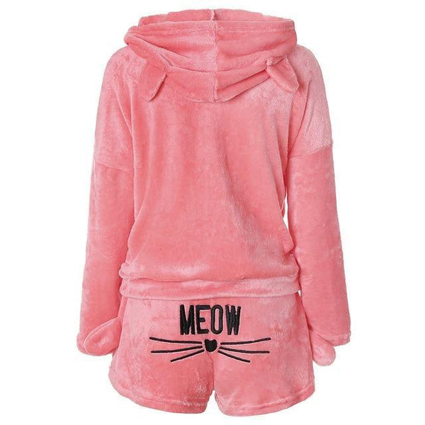 Flannel Cute Cat Sleepwear Set freeshipping - looksCares