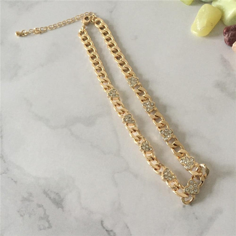 14k Gold Plated Stone Paving Choker Necklace freeshipping - looksCares