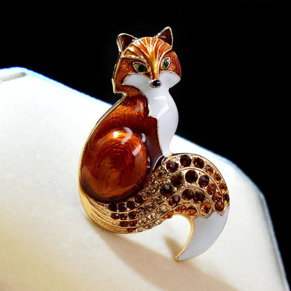 Rhinestone Fox Pin Brooch freeshipping - looksCares