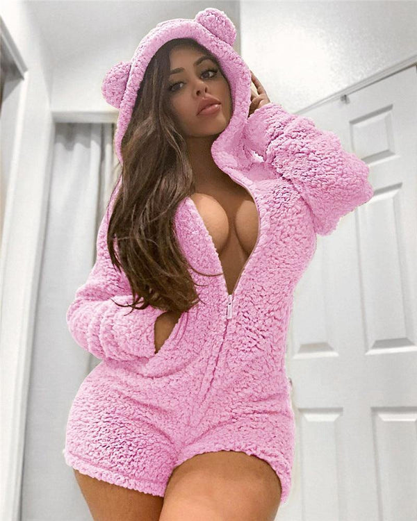Sexy Thick Fleece Hooded Pajama Jumpsuit freeshipping - looksCares
