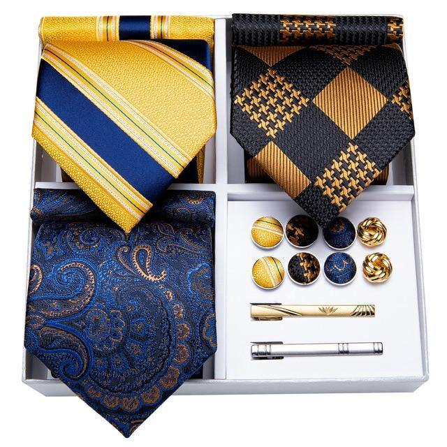Men's Striped Paisley Tie Set freeshipping - looksCares
