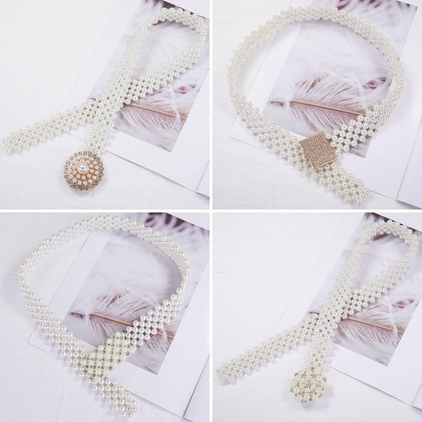 Elegant Pearl Crystal Waist Belt freeshipping - looksCares