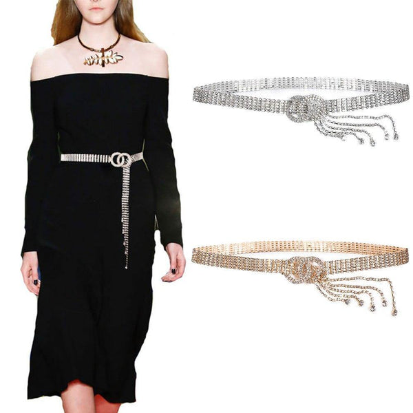 Bling Rhinestone Long Tassel Belt freeshipping - looksCares