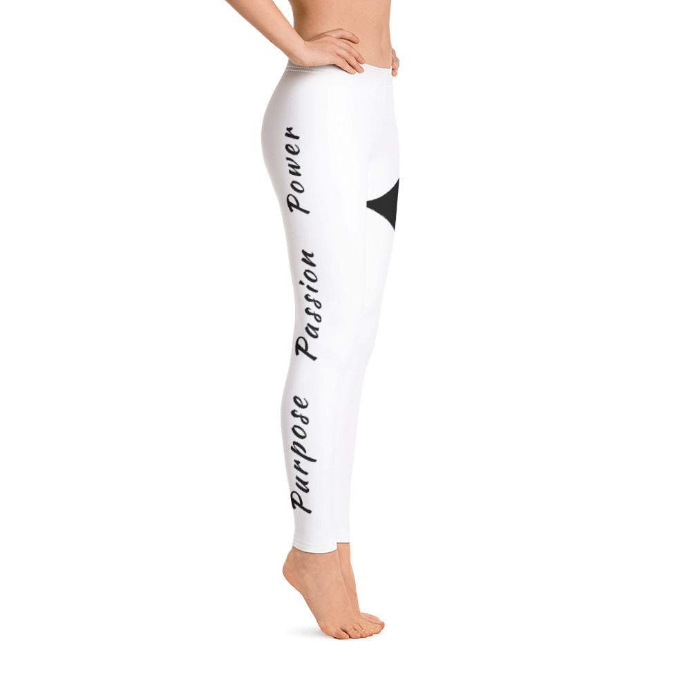 Leggings - Purpose Passion Power White