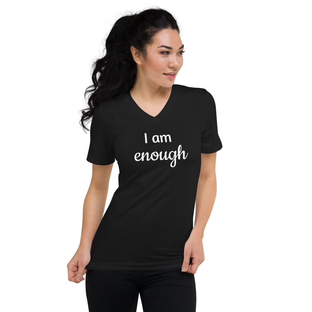 Unisex Short Sleeve V-Neck T-Shirt - I am enough