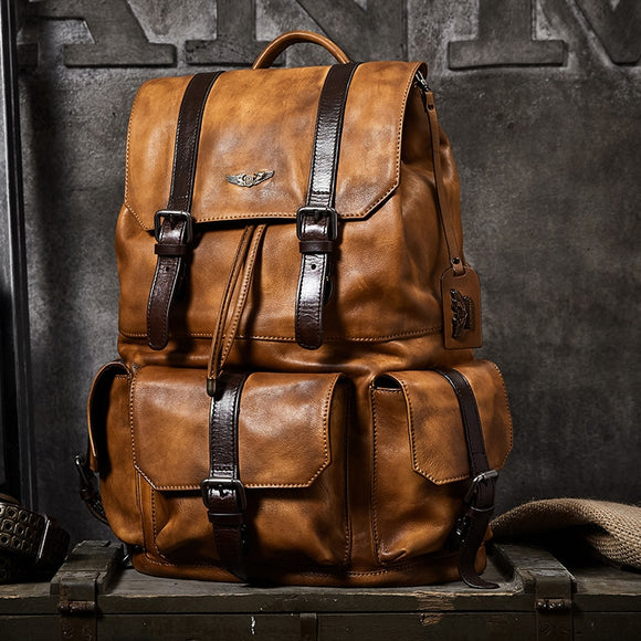 Borsa da viaggio da uomo di grande capacità Zaino da alpinismo Borsa a tracolla con coulisse in pelle conciata al vegetale fatta a Large capacity Men travel bag mountaineering backpack handmade vegetable-tanned Leather drawstring shoulder bag Daypack Male
