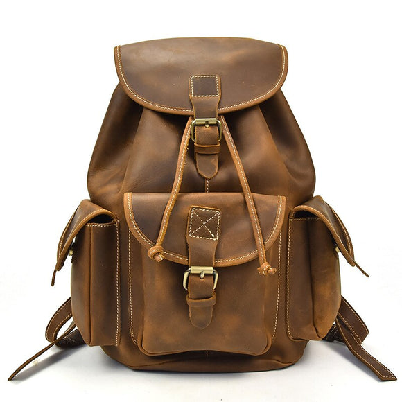 Zaino in pelle da uomo vintage Zaino in vera pelle Zaino per laptop Borsa per il tempo libero Borsa da viaggio Zaino da uomo - Vintage Men Leather Backpack Genuine Leather Backpack Laptop Student Leisure Bag Travel Bag Backpack Men