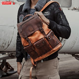 Zaino da uomo in pelle di vacchetta primo strato Air Force Borsa per laptop di grande capacità maschile Borsa da viaggio sportivAir Force First Layer Cowhide Leather Men's Backpack Male Large Capacity Laptop Bag Retro Men Sports Travel Backpacks Solid Bag