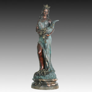 A grandezza naturale Fortuna Tyche Dea romana della fortuna Statua Replica Bronzo Scultura classica occidentale Arredamento per interniLife Size Fortuna Tyche Roman Goddess of Luck Statue Replica Bronze Western Classical Sculpture Indoor Floor Decor Large