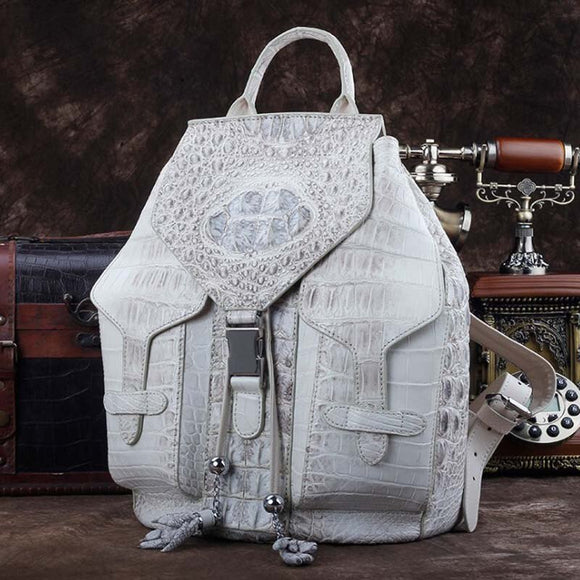 zaino da donna in pelle di coccodrillo ourui Zaino da uomo e donna bianco himalayano - ourui crocodile leather women backpack  Himalayan white  Men and women  general  backpack
