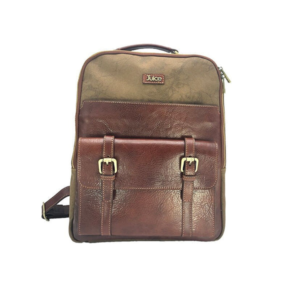 Juice - made in Italy, vera pelle, tela e top in pelle, zaino uomo, caffè / marrone,  -  Juice - made in Italy,Genuine leather,Canvas and Top leather,Men Backpack,Coffee/Brown,112240