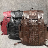 Vera vera pelle di coccodrillo Chiusura con coulisse Grande zaino casual da uomo marrone Borsa da viaggio in vera pelle di alligGenuine Real Crocodile Skin Drawstring Closure Large Casual Men Brown Backpack Authentic Alligator Leather Male Travel Bag Back