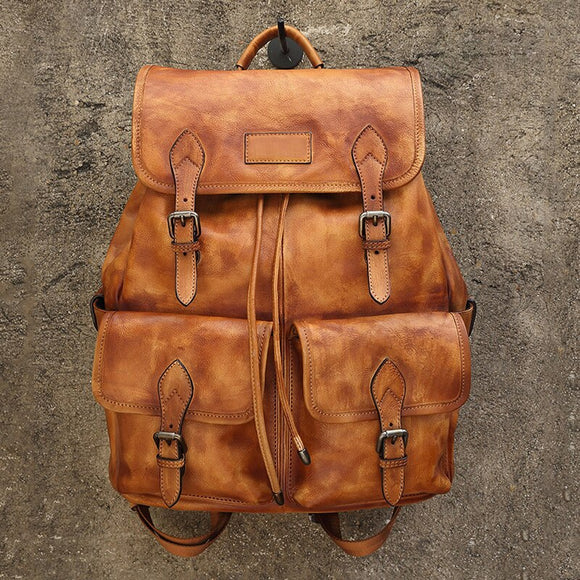 New Mens Cow Leather Backpack Large Capacity Backpack Travel Bag Leather Brown Casual Bag Mens Daily Pack