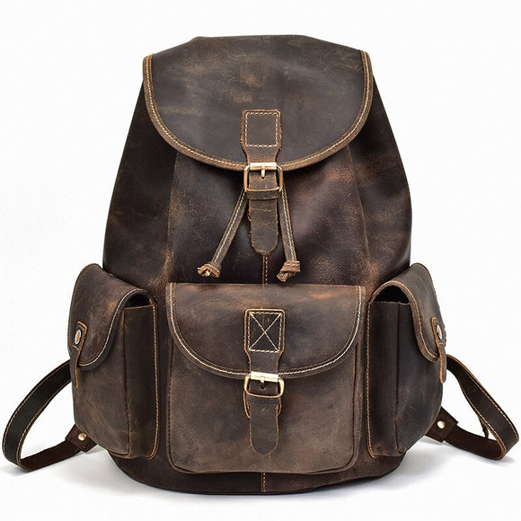 Zaino da uomo in stile americano Zaino di moda Zaino per studenti in pelle di mucca Zaino per laptop Moda uomo Mochila - American Style Men's Backpack Fashion Men's Backpack Cow Skin Student Backpack  Laptop Backpack  Mens Fashion  Mochila