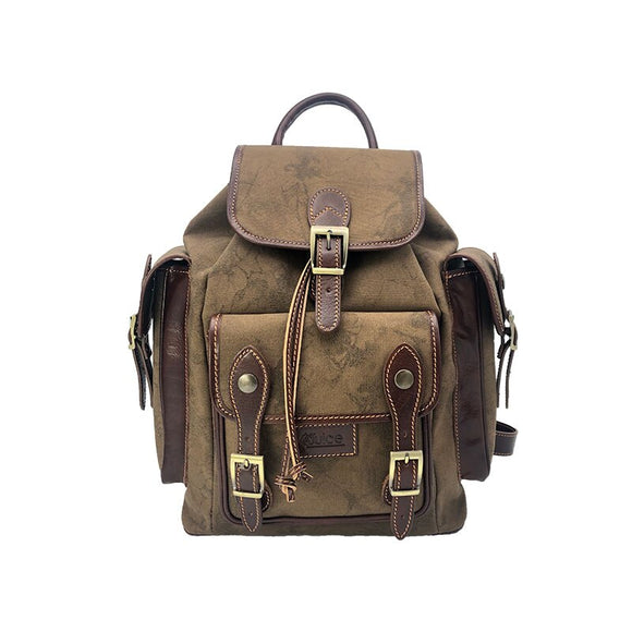 Juice - made in Italy,Genuine leather,Canvas and Top leather, Men Backpack,Black/Brown,112248