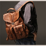 Backpack Luxury Mens Cow Leather Bag Simple Military Style Travel Bag Large Capacity Retro