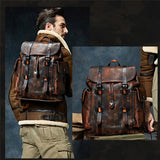 Backpack Luxury Mens Cow Leather Bag Dark Brown Simple Military Style Travel Bag Large Capacity Retro