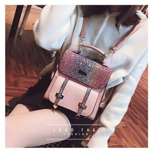 by dhl or ems 50pcs 2018 Sequins Small Backpack Women Female Bling Shiny Small Leather Backpacks Teenage Girls Mini Travel Bags
