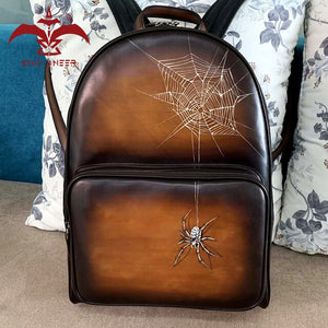 Solo persone di moda! Borsa da uomo in vera pelle 100% zaino da donna con pittura a ragno color patina marrone - Fashion People Only! 100% Geuine Leather Bag Men Lady Backpack with Spider Painting Patina Brown Color