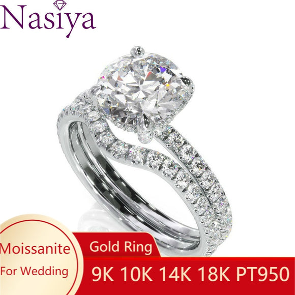 NASIYA Moissanite Bridal Halo Wedding Ring Main 1ct 6.5mm EF Color Moissanite 14k White Gold Ring Fine Jewelry per le donne - NASIYA Moissanite Bridal Halo Wedding Ring Main 1ct 6.5mm EF Color Moissanite 14k White Gold Ring Fine Jewelry For Women