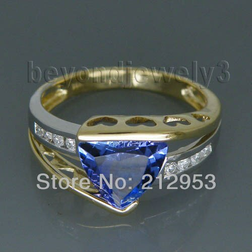 Fine Jewelry Vintage Trillion 8mm Anello tanzanite in oro massiccio 14kt bicolore SR335 - Fine Jewelry Vintage Trillion 8mm Solid 14kt Two Tone Gold  Tanzanite Ring SR335
