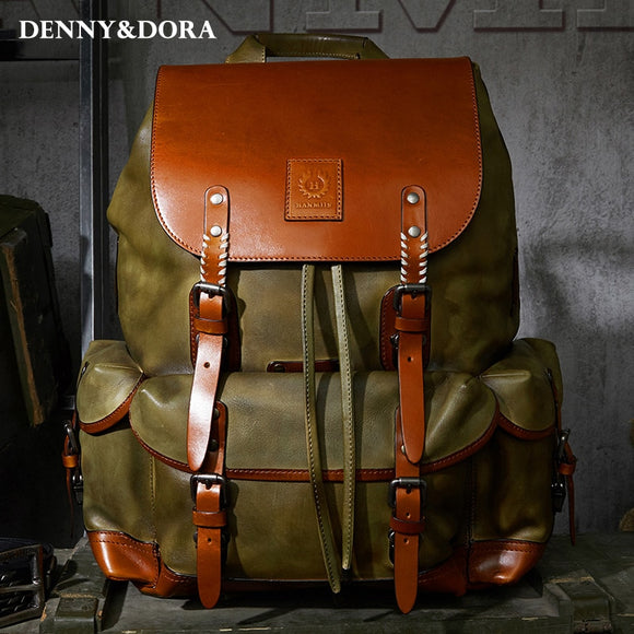 Leather Bag Simple Military Style  Luxury Mens  Cow Leather Backpack Travel Bag Large Capacity Retro